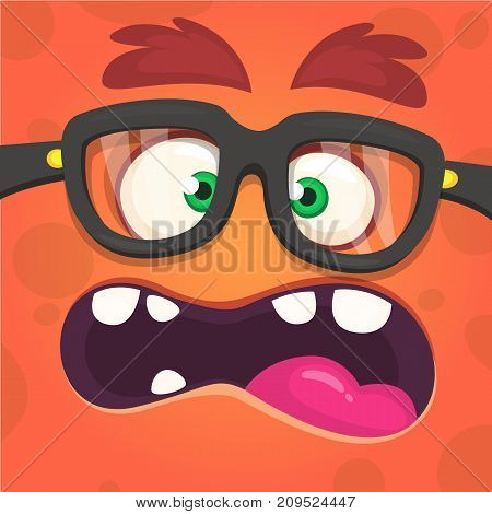 Cartoon angry monster face. wearing glasses. Vector illustration