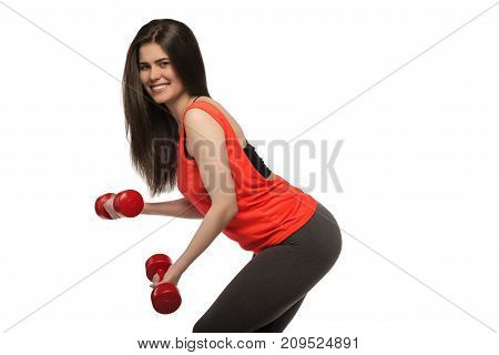 Beautiful Young Smiling Sporty Fitness Woman With Dumbbells