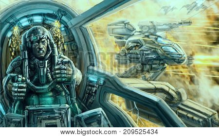 Pilot in a spacesuit inside the cockpit of a war vehicle. Combat robot and flying fighters on the background. Sci-fi illustration.