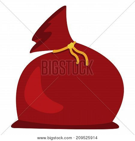Vector Color Flat Icon - Red Christmas Gift Bag