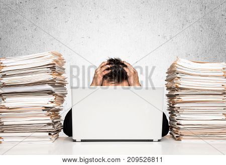 Young man age manager work workplace overworked