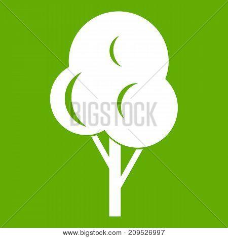 Autumn tree icon white isolated on green background. Vector illustration