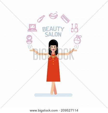 A Beautiful Lady Or Woman Character In Red Dress With His Hands Up. Beauty Salon Icons Are Arranged