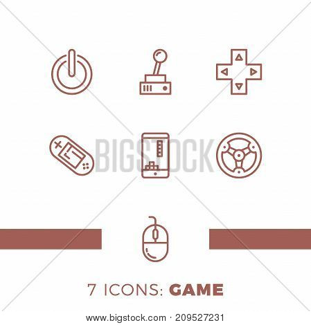 Simple Set of Games Related Vector Line Icons. Contains such Icons as Joystick Console Phone Wheel and more. poster
