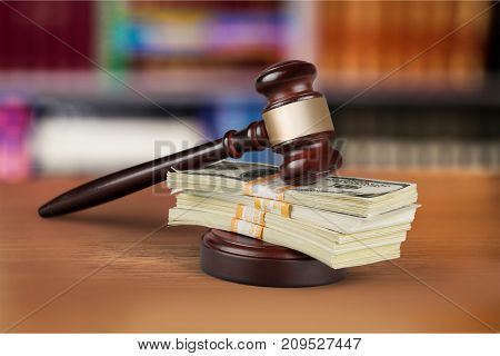 Wooden hammer judge objects background money brown