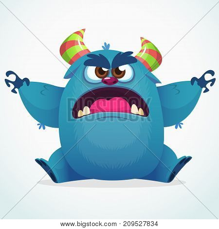 Cute colorful happy cartoon monster. Vector fat monster mascot character. Halloween design for party decoration print or children book