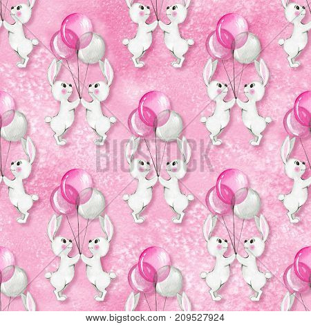 Seamless pattern with cartoon white rabbits and balloons. Watercolor background
