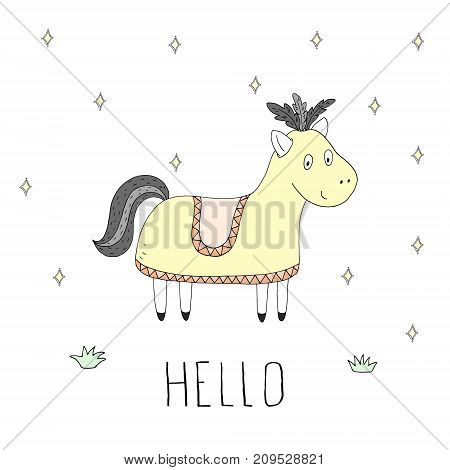 Cute hand drawn Funny cartoon horse characters. Isolated objects.