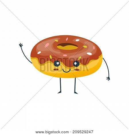 Funny character of delicious dishes from fast food. Merry, funny, sweet, glazed chocolate donut smiles and raises his hand up. Confectionery. Modern vector illustration isolated.