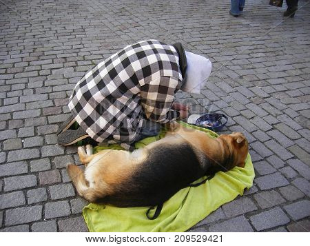 A man with a dog on the street. The poverty and misery. Unemployment on the streets in Europe. Poverty, indigence,disease and unemployment. To give alms in the street poster