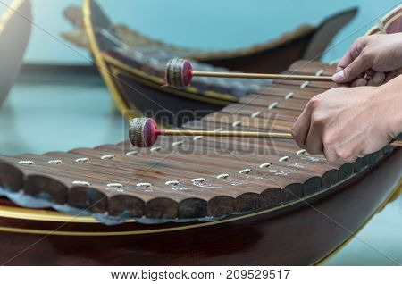 Hand hitting the Thai musical instrument (xylophone)asian instrument focus on hand