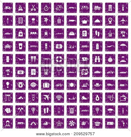 100 travel time icons set in grunge style purple color isolated on white background vector illustration