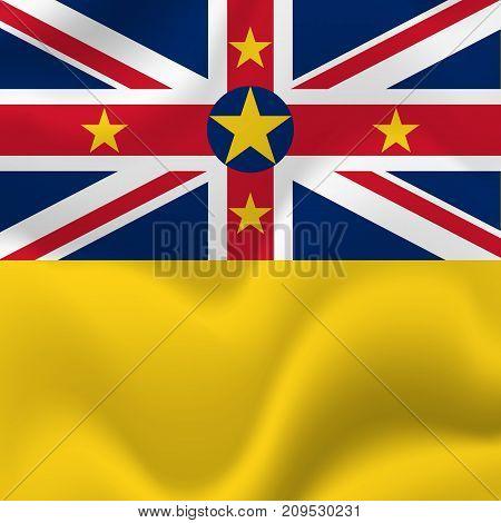 Niue waving flag. Waving flag. Vector illustration.