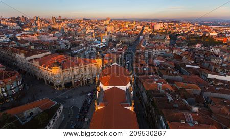 Panorama of the old city centre from Clerigos tower, Porto, Portugal.