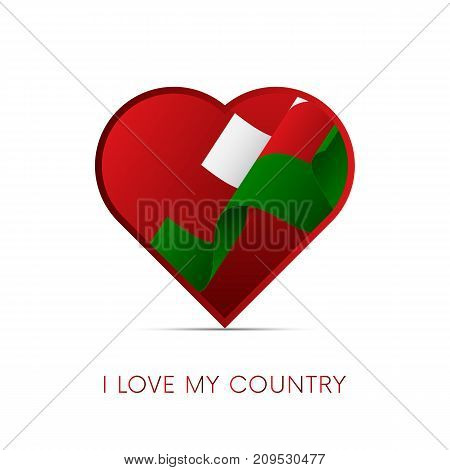Oman flag in heart. I love my country. Sign. Vector illustration.