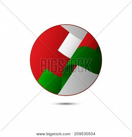 Oman flag button with shadow on a white background. Vector illustration.