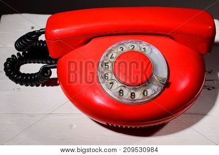 Red Vintagephone On White Background