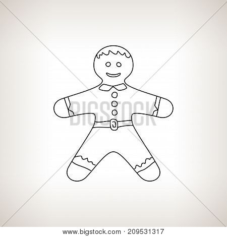 Christmas Gingerbread Man Gingerbread Man on a Light Background Christmas Decoration Drawing in the Contours Black and White Illustration
