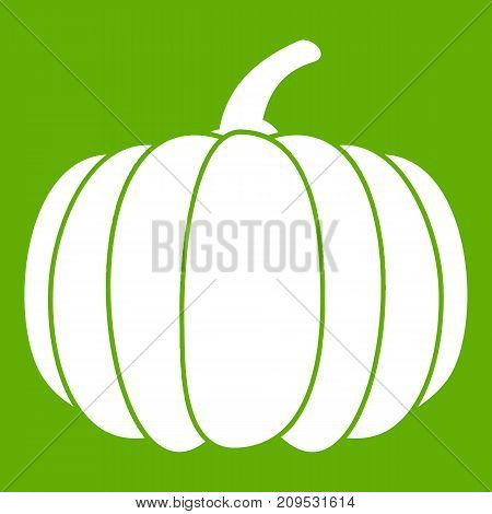 Pumpkin icon white isolated on green background. Vector illustration