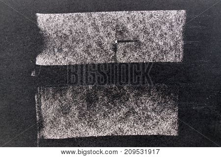 Set of grunge white chalk art brush in square line shape on black board background. Decoration and design element