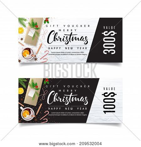 Gift Voucher Template for Christmas Sale. Design of coupon usable for invitation and ticket. Vector Illustration with Festive Decoration. Beautiful Greeting Card with Seasonal Offer.