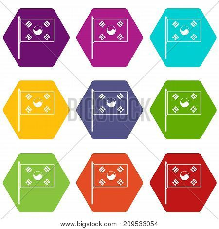 South Korea flag icon set many color hexahedron isolated on white vector illustration