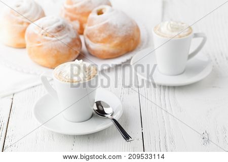Mug Of Hot Chocolate Or Cocoa With Toasted Bagel