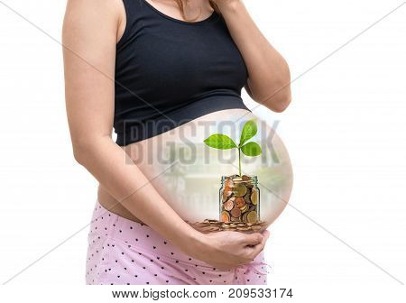 Pregnant woman with Gold coins and seed in clear bottle on photo blurred house background family invest concept, 3D illustration