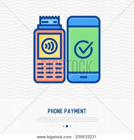 Phone payment thin line icon. Pos terminal confirmation of payment on smartphone, complete transaction. Vector illustration of nfc payment.