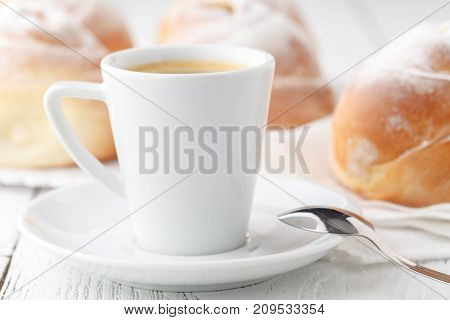 Coffee With Croissants And Donuts. Croissants And Donuts. Close-up. Fried Food. Sweet Breakfast