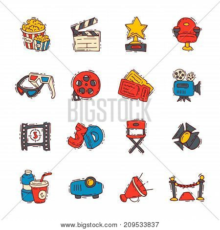 Movie making creator hand drawn sketch style icons premiere cinema film entertainment media studio vector illustration. Hollywood action pictures screen creation.