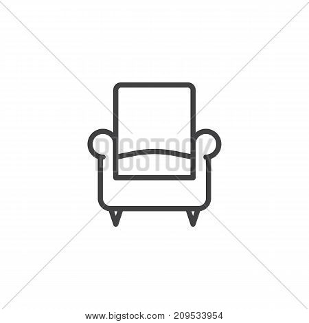 Sofa or armchair line icon, outline vector sign, linear style pictogram isolated on white. Symbol, logo illustration. Editable stroke