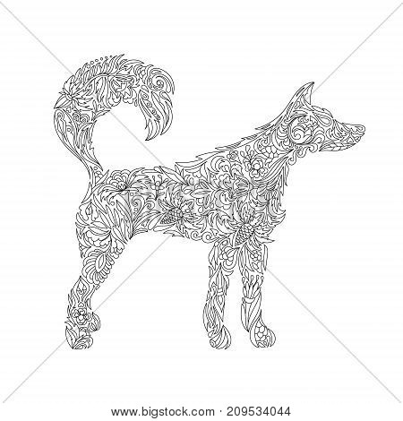 Dog. Zentangle. Stylized Dog. Freehand sketch with dog for adult anti stress coloring book page with doodle and zentangle elements. Animals for coloring book. Isolated black line on white background.