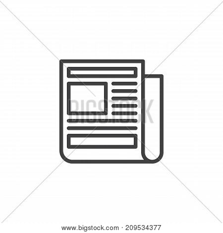 Newspaper line icon, outline vector sign, linear style pictogram isolated on white. News symbol, logo illustration. Editable stroke