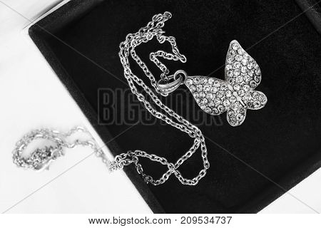 Crystal silver shiny butterfly pendant in black jewel box