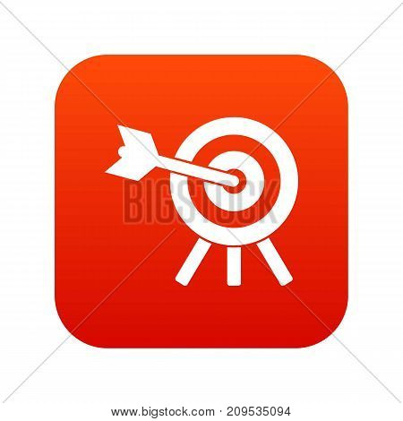 Arrow hit the target icon digital red for any design isolated on white vector illustration