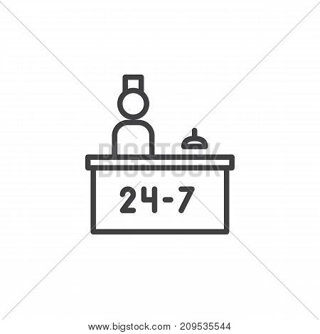 Hotel reception service and receptionist line icon, outline vector sign, linear style pictogram isolated on white. Symbol, logo illustration. Editable stroke