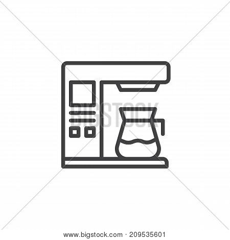 Coffee maker machine line icon, outline vector sign, linear style pictogram isolated on white. Symbol, logo illustration. Editable stroke