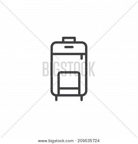 Travel luggage line icon, outline vector sign, linear style pictogram isolated on white. Symbol, logo illustration. Editable stroke