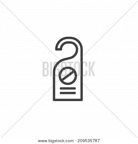 Do not disturb door tag line icon, outline vector sign, linear style pictogram isolated on white. Symbol, logo illustration. Editable stroke