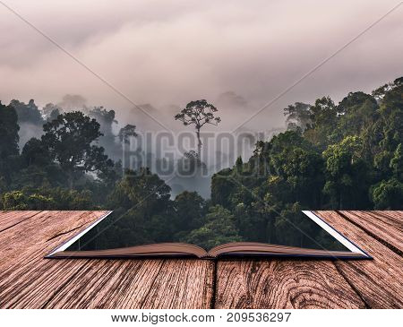 Conceptual book image of beautiful scenary of mist with mountain range at PanoenThung view point in Kaeng Krachan national parkThailand