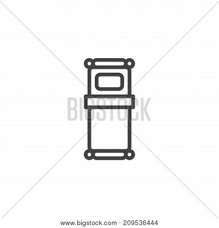 Single bed line icon, outline vector sign, linear style pictogram isolated on white. Symbol, logo illustration. Editable stroke