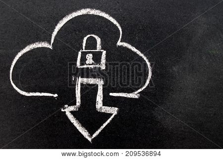 White chalk drawing in cloud with download arrow and lock shape on black board background