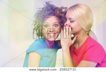 Women secret gossip gossiping leisure beautiful happy