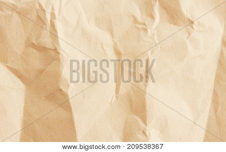 Brown Crumpled paper background empty with nobody.