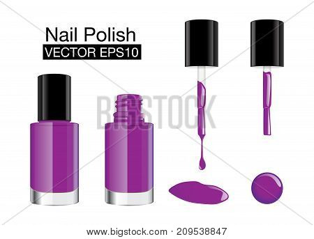 Purple nail polish in glass bottle open lid and closed and color blot of nail polish.