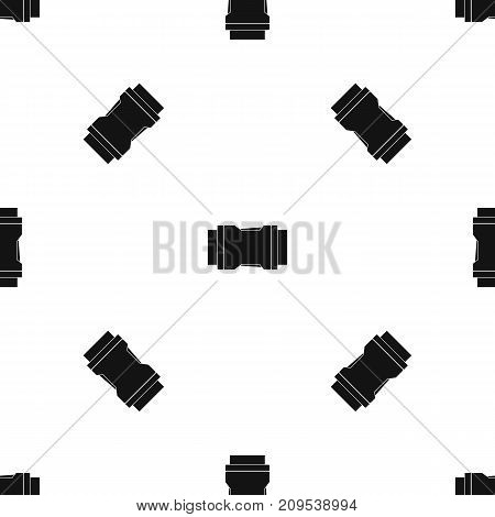Side release buckle pattern repeat seamless in black color for any design. Vector geometric illustration