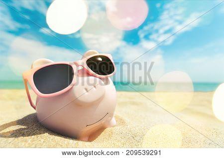 Sun bank sunglasses glasses pig piggy piggy bank