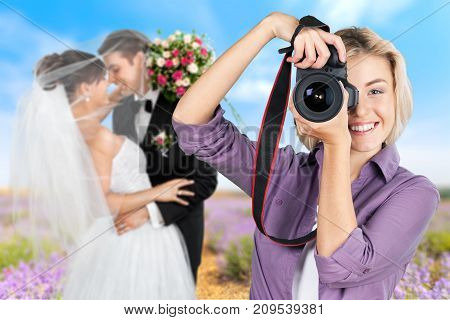 Female photo hold camera photographer just married white