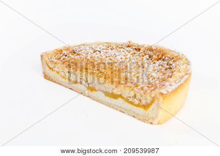 Curd Cake With Peaches On A White Background